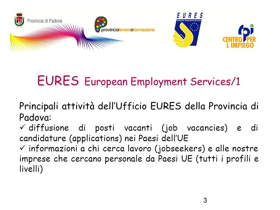 3 EURES European Employment Services/1 Principali attività dellUfficio EURES della Provincia di Padova: diffusione di posti vacanti (job vacancies) e di candidature (applications) nei Paesi dellUE informazioni a chi cerca lavoro (jobseekers) e alle nostre imprese che cercano personale da Paesi UE (tutti i profili e livelli)