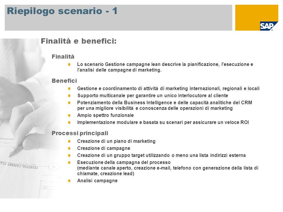 Riepilogo scenario - 1 Finalità Lo scenario Gestione campagne lean descrive la pianificazione, l esecuzione e l analisi delle campagne di marketing.