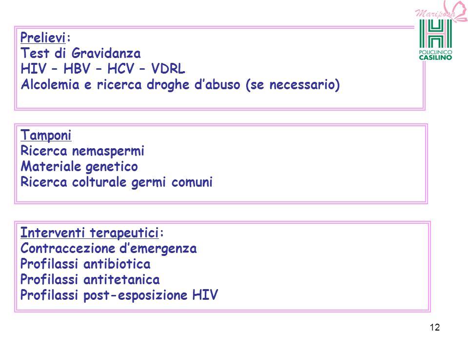 Prelievi: Test di Gravidanza HIV – HBV – HCV – VDRL Alcolemia e ricerca droghe dabuso (se necessario) Tamponi Ricerca nemaspermi Materiale genetico Ri