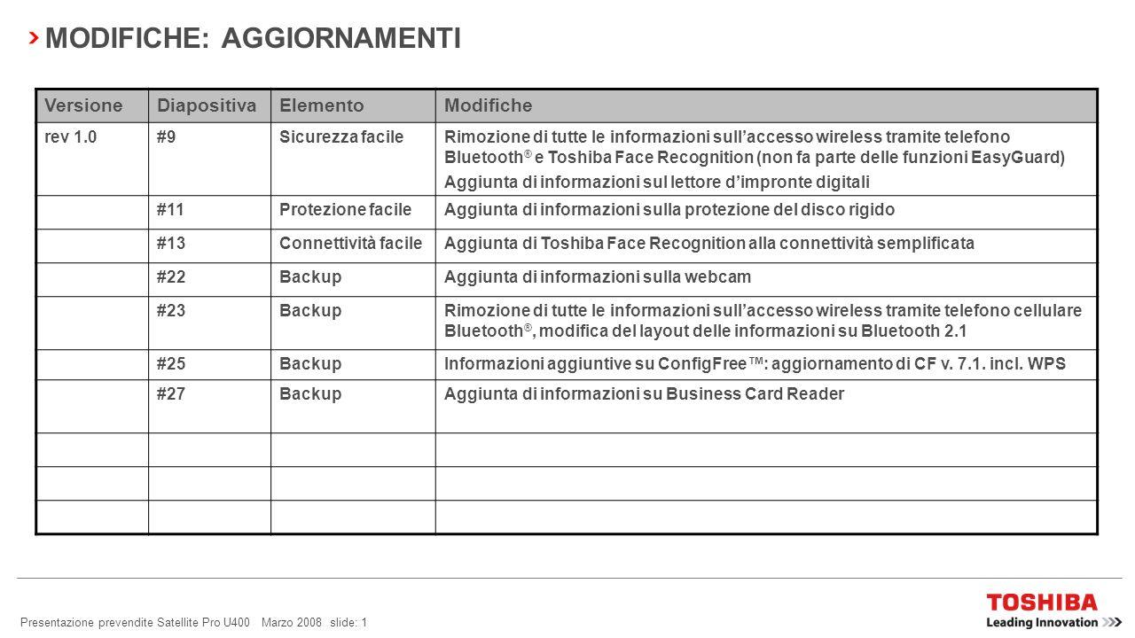 Presentazione prevendite Satellite Pro U400 Marzo 2008 slide: 31
