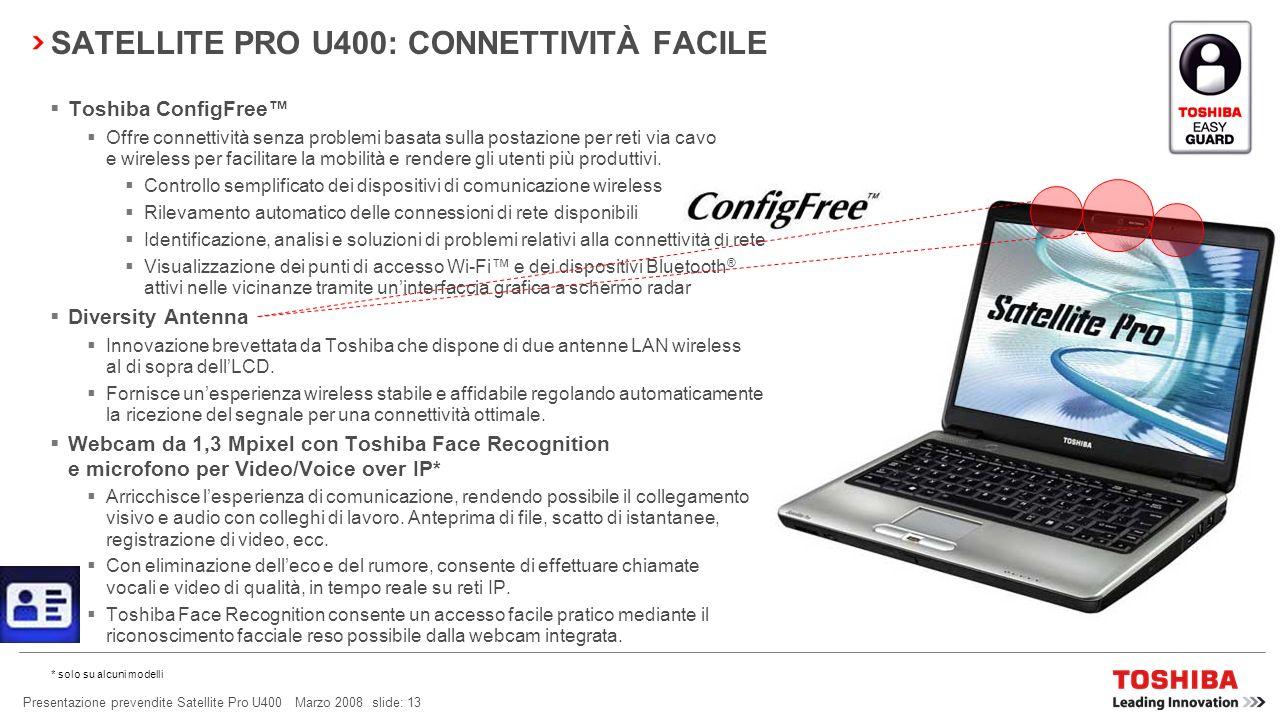 Presentazione prevendite Satellite Pro U400 Marzo 2008 slide: 12 SATELLITE PRO U400: CONNETTIVITÀ FACILE WLAN incl.