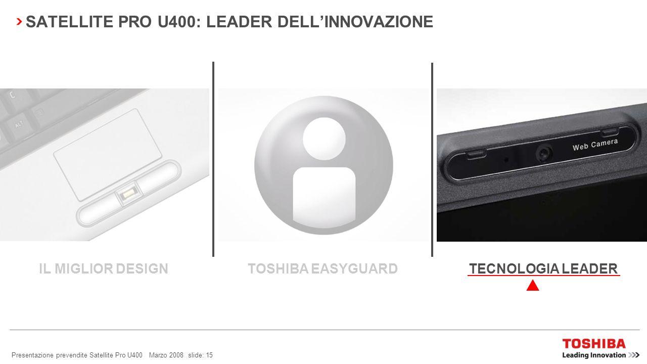 Presentazione prevendite Satellite Pro U400 Marzo 2008 slide: 14 SATELLITE PRO U400: GESTIBILITÀ FACILE Smart Display Support Per migliorare la produttività del lavoro.