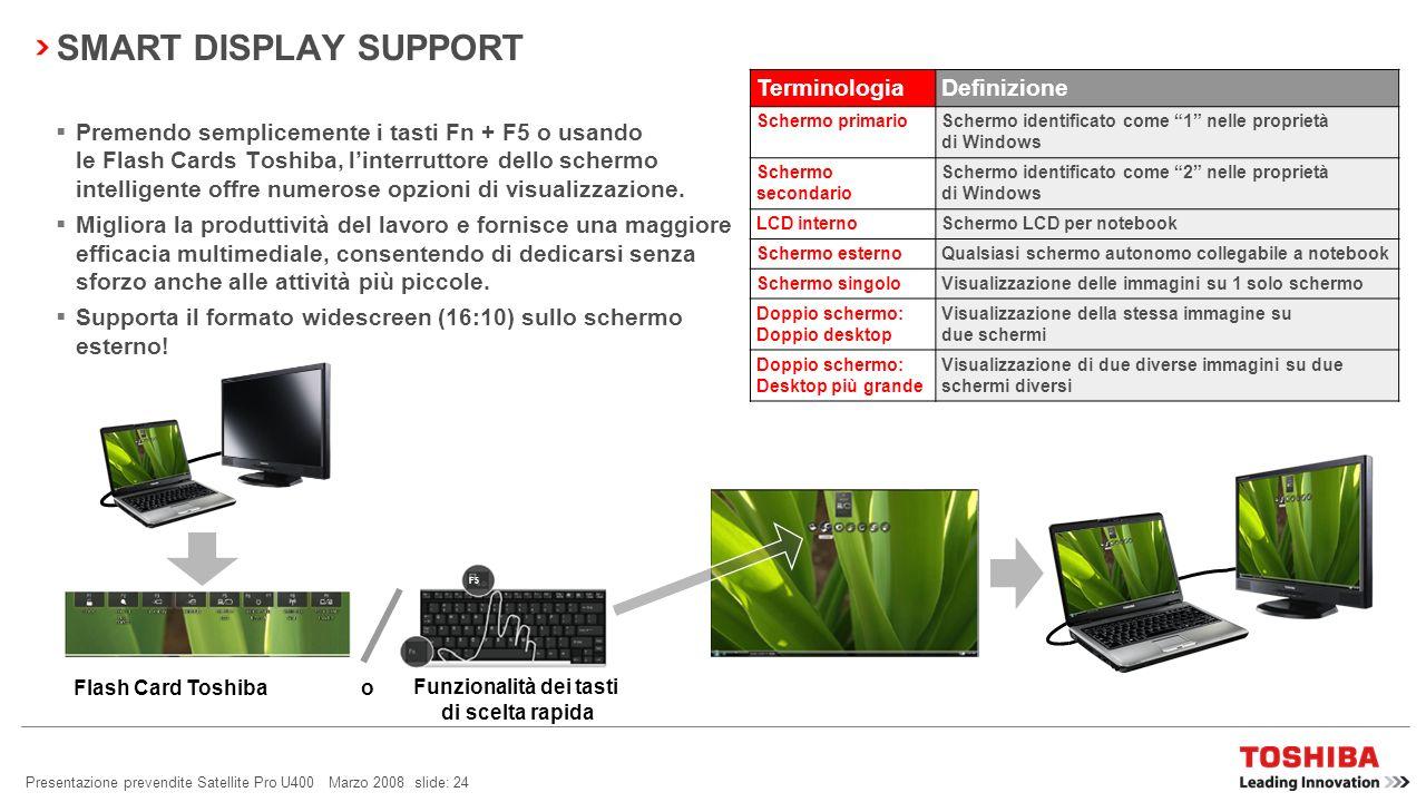 Satellite A300/A300D: Sales Presentation slide: 23 April 2008 BLUETOOTH ® 2.1 + EDR Consumi ridotti Sniff Subrating viene utilizzato per ridurre i con