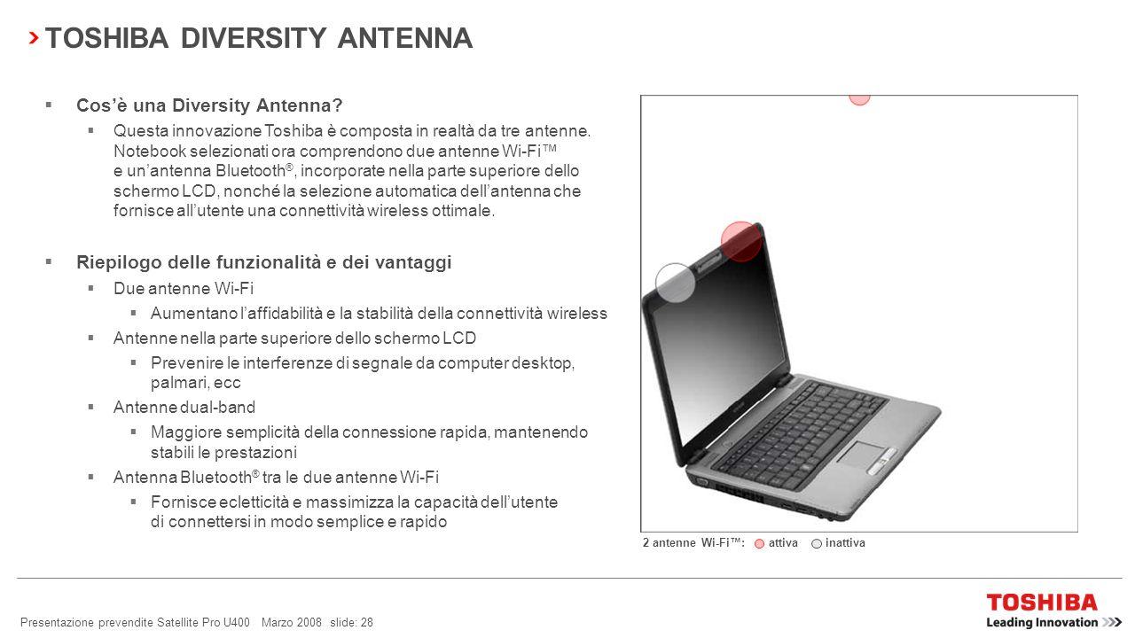 Presentazione prevendite Satellite Pro U400 Marzo 2008 slide: 27 BUSINESS CARD READER Caratteristiche Scansione di biglietti da visita o cattura delle