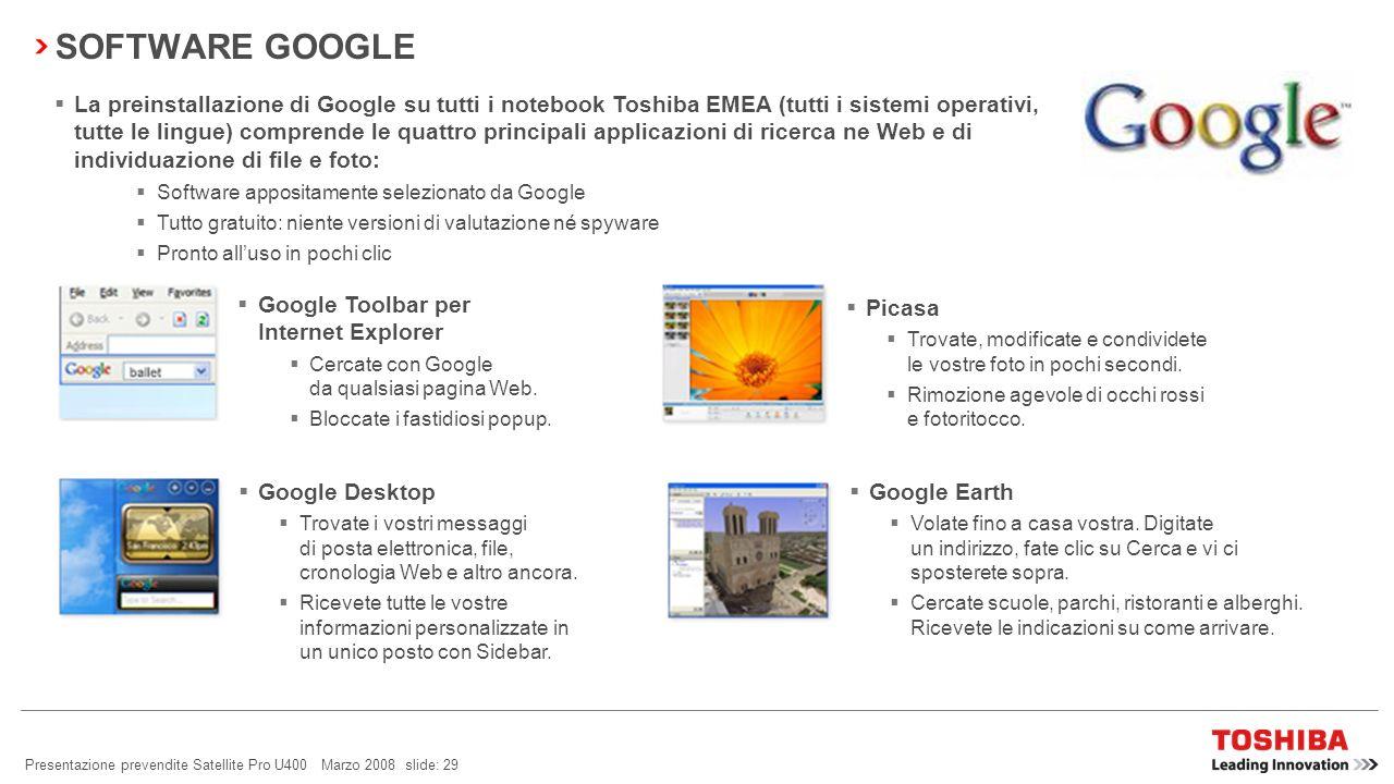 Presentazione prevendite Satellite Pro U400 Marzo 2008 slide: 28 TOSHIBA DIVERSITY ANTENNA Cosè una Diversity Antenna? Questa innovazione Toshiba è co