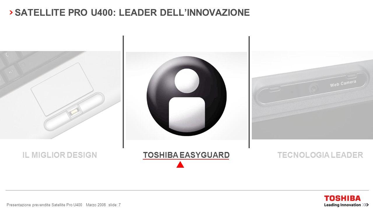 Presentazione prevendite Satellite Pro U400 Marzo 2008 slide: 6 Copertura LCD in argento titanio SATELLITE PRO U400: IL MIGLIOR DESIGN Integrazione in