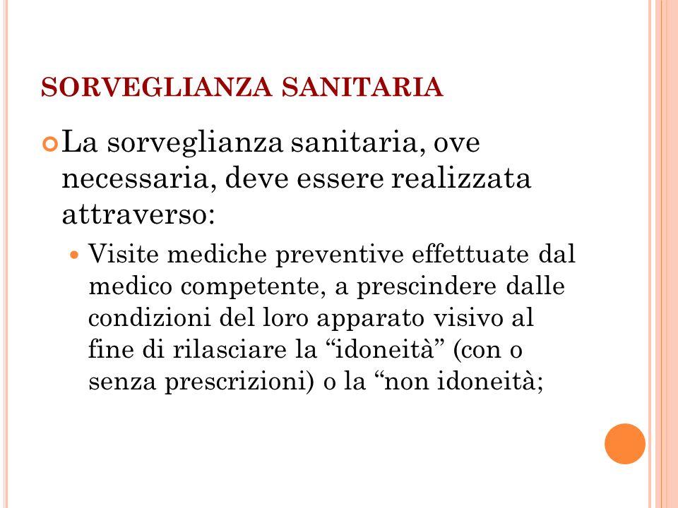 SORVEGLIANZA SANITARIA La sorveglianza sanitaria, ove necessaria, deve essere realizzata attraverso: Visite mediche preventive effettuate dal medico c