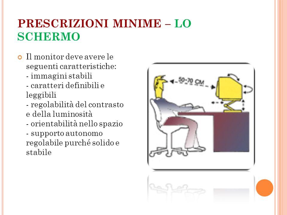 PRESCRIZIONI MINIME – LO SCHERMO Il monitor deve avere le seguenti caratteristiche: - immagini stabili - caratteri definibili e leggibili - regolabili