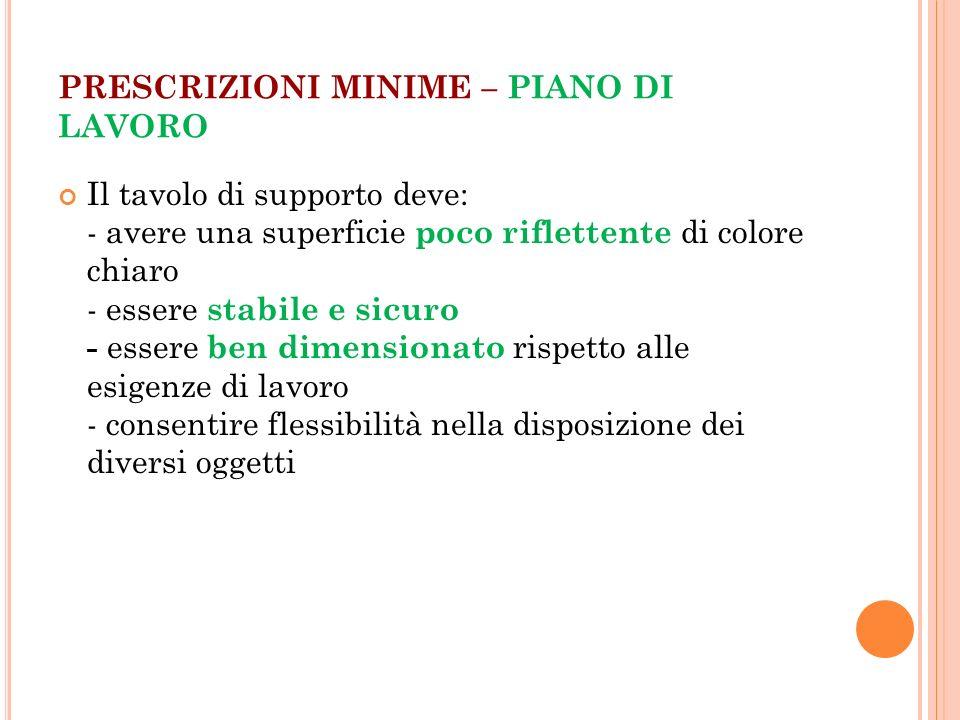 PRESCRIZIONI MINIME – PIANO DI LAVORO Il tavolo di supporto deve: - avere una superficie poco riflettente di colore chiaro - essere stabile e sicuro -