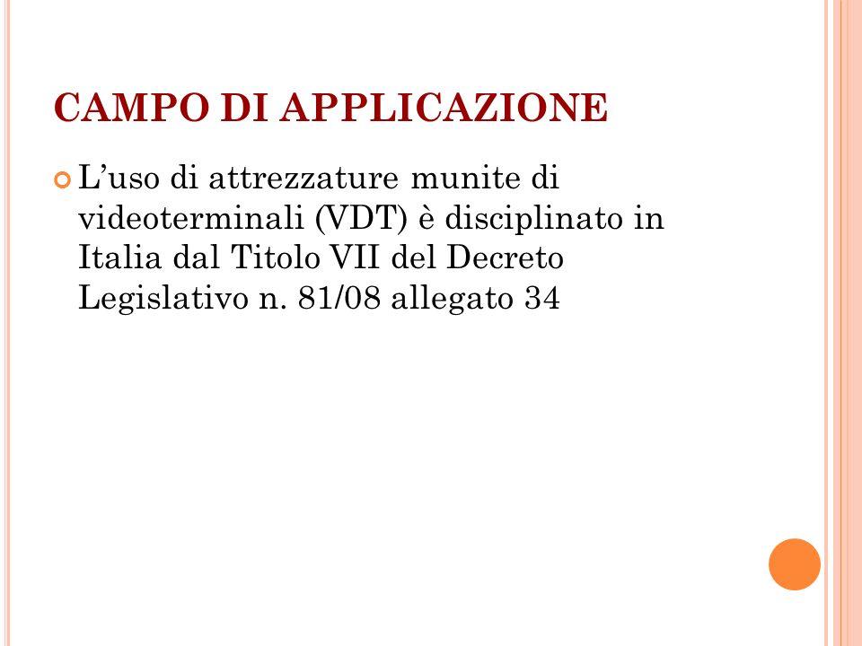 CAMPO DI APPLICAZIONE Luso di attrezzature munite di videoterminali (VDT) è disciplinato in Italia dal Titolo VII del Decreto Legislativo n. 81/08 all