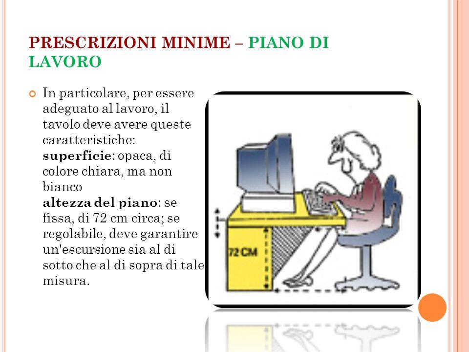 PRESCRIZIONI MINIME – PIANO DI LAVORO In particolare, per essere adeguato al lavoro, il tavolo deve avere queste caratteristiche: superficie : opaca,