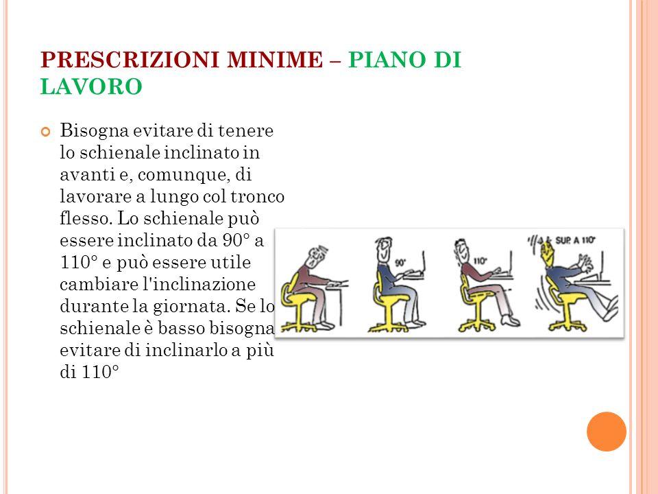 PRESCRIZIONI MINIME – PIANO DI LAVORO Bisogna evitare di tenere lo schienale inclinato in avanti e, comunque, di lavorare a lungo col tronco flesso. L