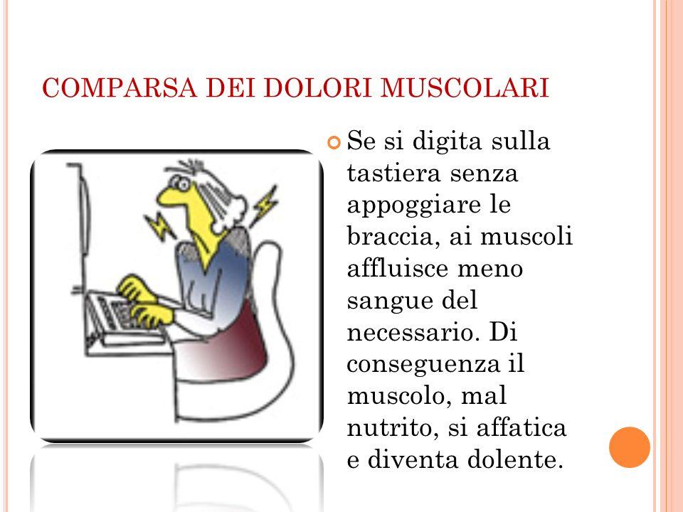 COMPARSA DEI DOLORI MUSCOLARI Se si digita sulla tastiera senza appoggiare le braccia, ai muscoli affluisce meno sangue del necessario. Di conseguenza