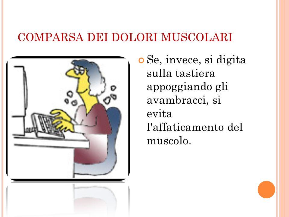 COMPARSA DEI DOLORI MUSCOLARI Se, invece, si digita sulla tastiera appoggiando gli avambracci, si evita l'affaticamento del muscolo.