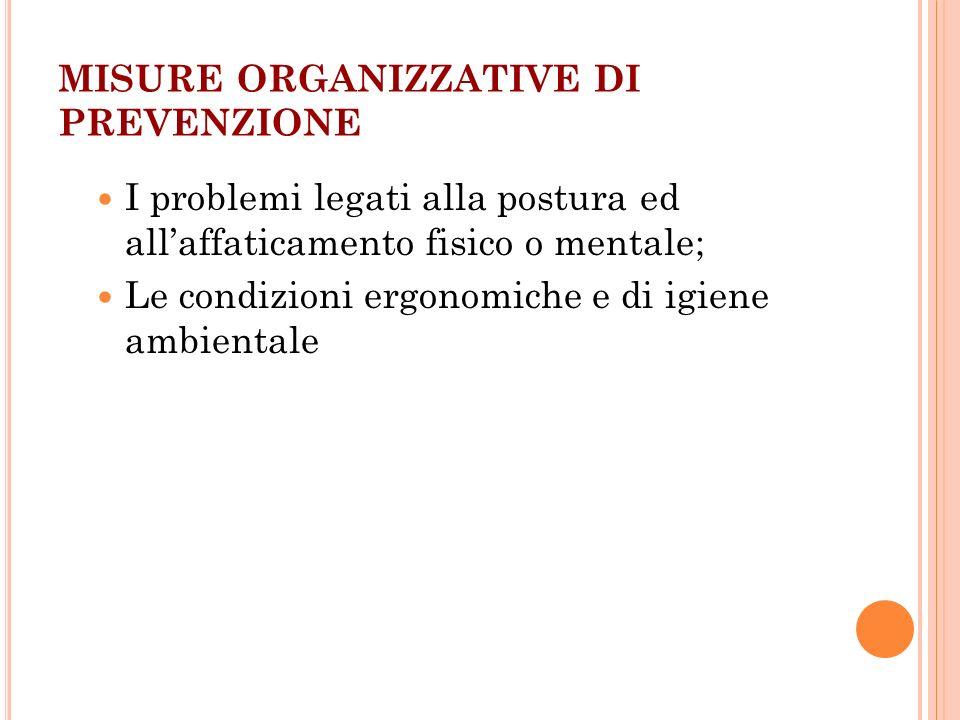 MISURE ORGANIZZATIVE DI PREVENZIONE I problemi legati alla postura ed allaffaticamento fisico o mentale; Le condizioni ergonomiche e di igiene ambient