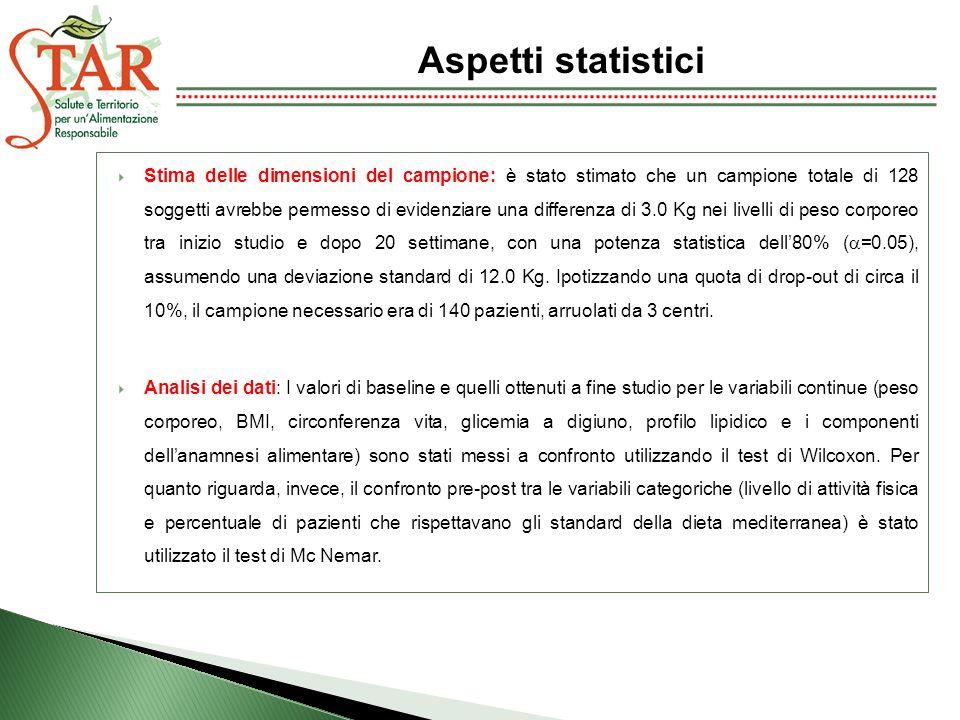 Aspetti statistici Stima delle dimensioni del campione: è stato stimato che un campione totale di 128 soggetti avrebbe permesso di evidenziare una dif