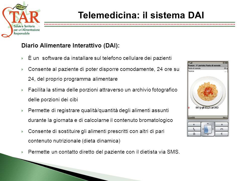 Diario Alimentare Interattivo (DAI): È un software da installare sul telefono cellulare dei pazienti Consente al paziente di poter disporre comodament