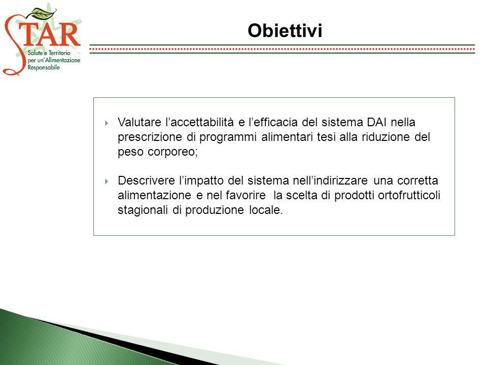 Valutare laccettabilità e lefficacia del sistema DAI nella prescrizione di programmi alimentari tesi alla riduzione del peso corporeo; Descrivere limp
