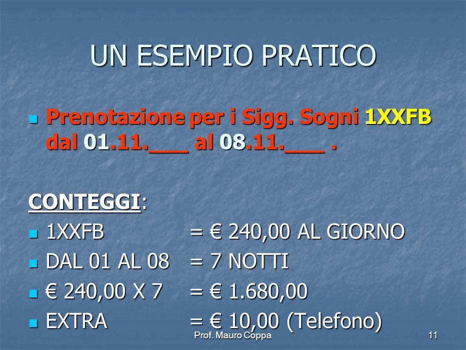 Prof.Mauro Coppa11 UN ESEMPIO PRATICO Prenotazione per i Sigg.