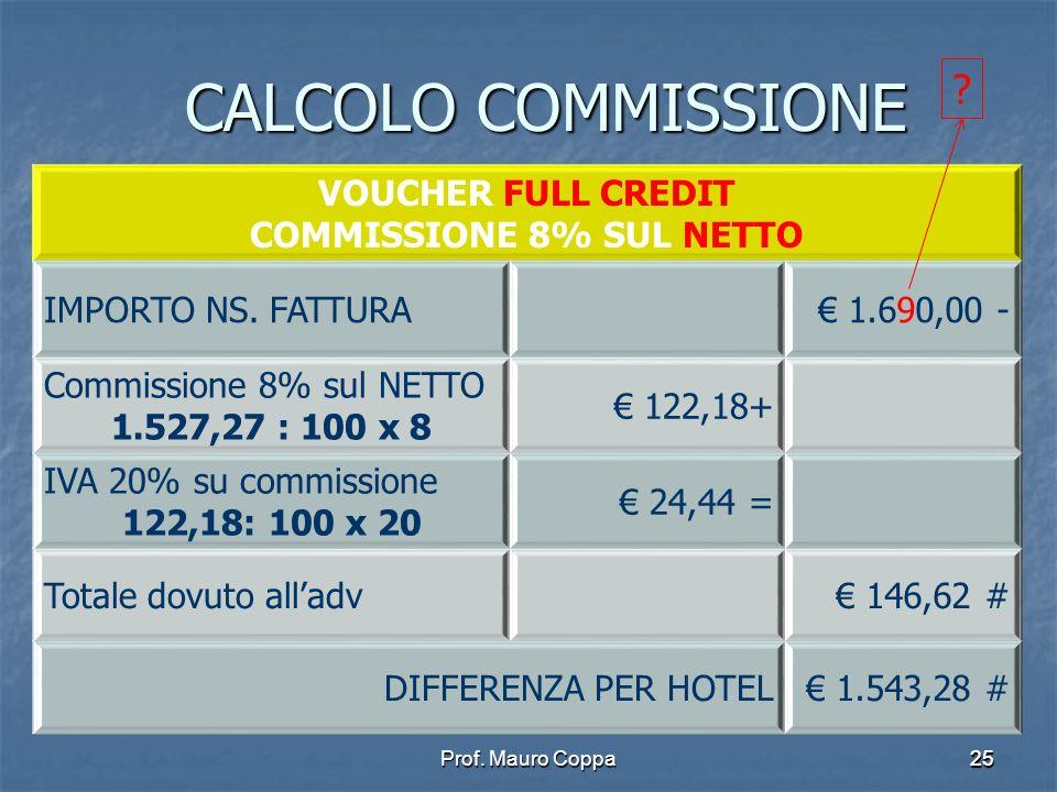 Prof.Mauro Coppa2525 CALCOLO COMMISSIONE VOUCHER FULL CREDIT COMMISSIONE 8% SUL NETTO IMPORTO NS.