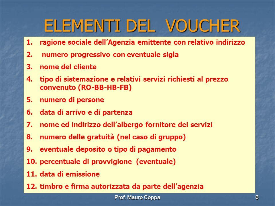 6 ELEMENTI DEL VOUCHER 1.ragione sociale dellAgenzia emittente con relativo indirizzo 2.