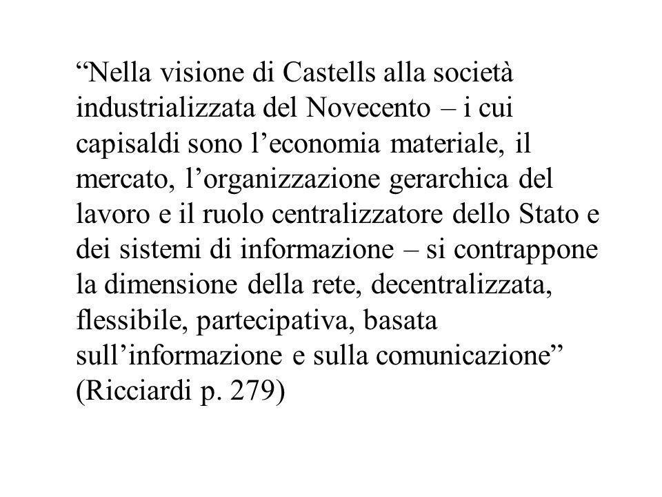 Nella visione di Castells alla società industrializzata del Novecento – i cui capisaldi sono leconomia materiale, il mercato, lorganizzazione gerarchi