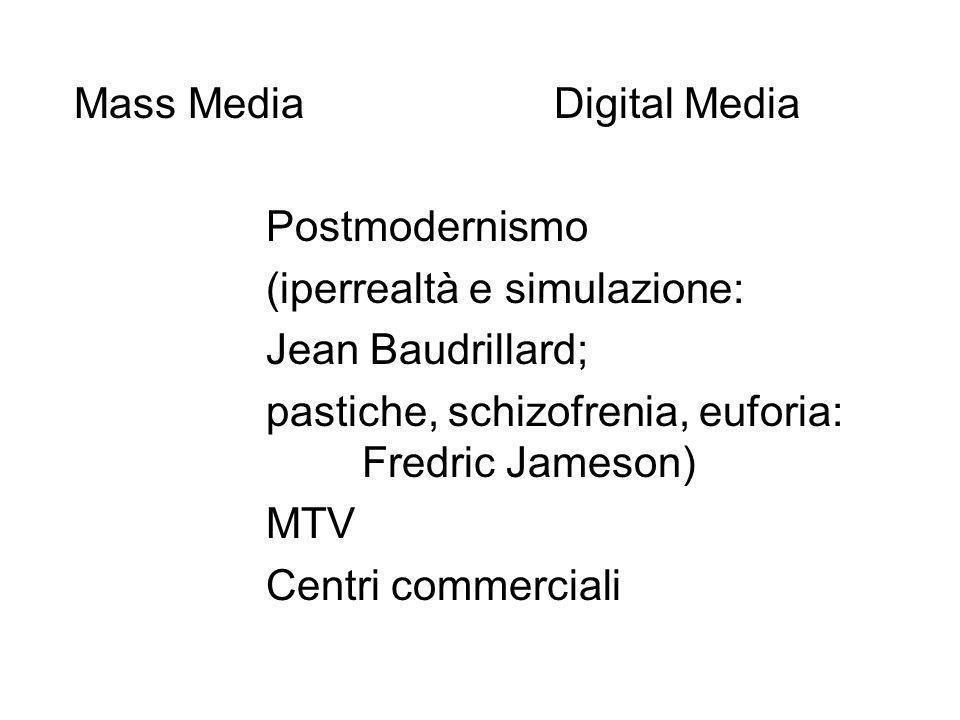 Mass MediaDigital Media Postmodernismo (iperrealtà e simulazione: Jean Baudrillard; pastiche, schizofrenia, euforia: Fredric Jameson) MTV Centri commerciali
