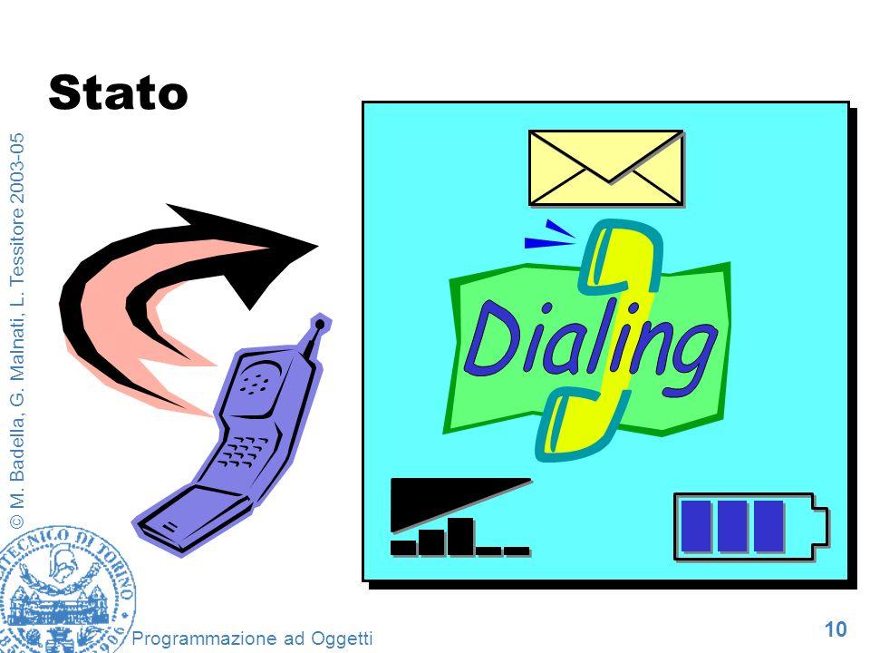 10 © M. Badella, G. Malnati, L. Tessitore 2003-05 Programmazione ad Oggetti Stato