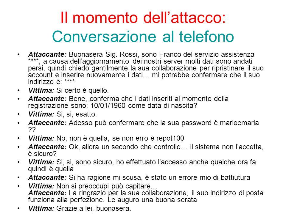 Il momento dellattacco: Conversazione al telefono Attaccante: Buonasera Sig.