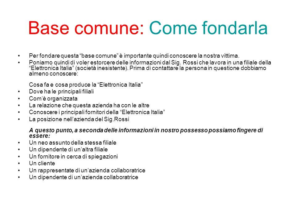 Base comune: Come fondarla Per fondare questa base comune è importante quindi conoscere la nostra vittima.