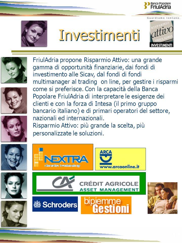 12 Investimenti FriulAdria propone Risparmio Attivo: una grande gamma di opportunità finanziarie, dai fondi di investimento alle Sicav, dal fondi di f