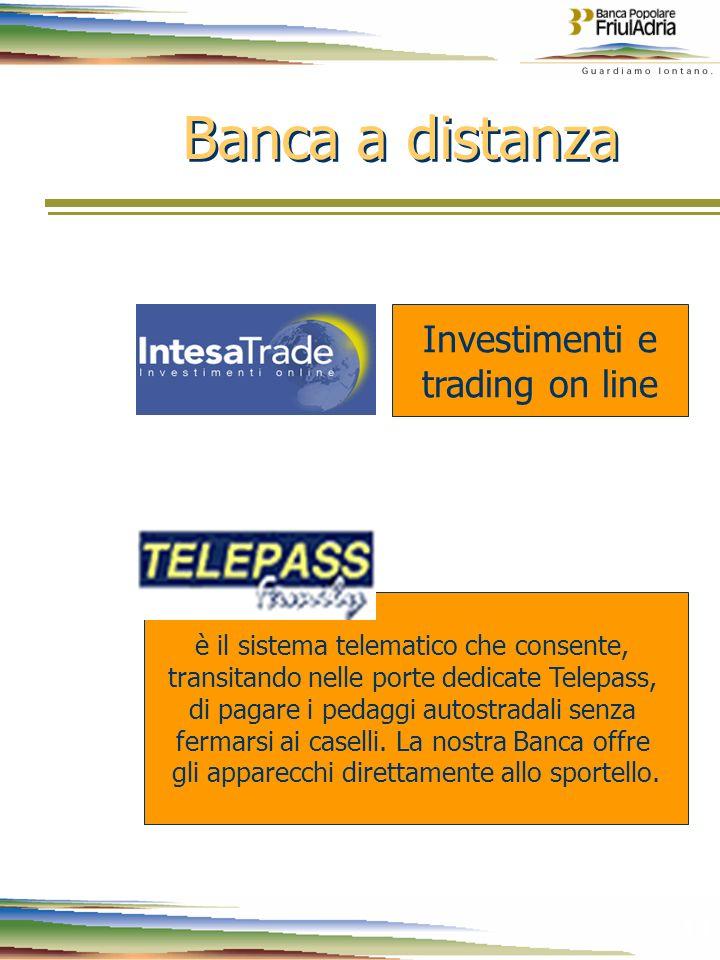 14 Banca a distanza Investimenti e trading on line è il sistema telematico che consente, transitando nelle porte dedicate Telepass, di pagare i pedagg