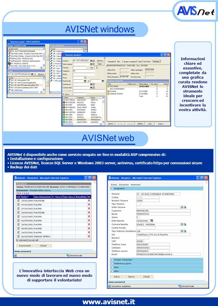 AVISNet windows AVISNet web AVISNet è disponibile anche come servizio erogato on-line in modalità ASP comprensivo di: Installazione e configurazione L