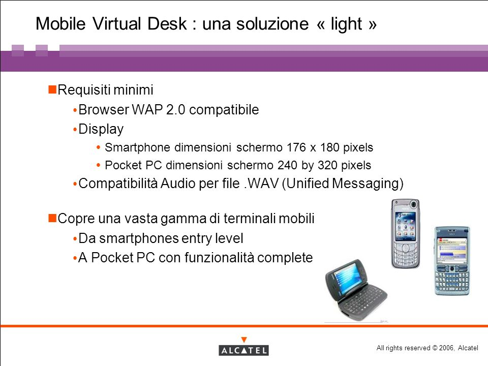 All rights reserved © 2006, Alcatel Mobile Virtual Desk : una soluzione « light » Requisiti minimi Browser WAP 2.0 compatibile Display Smartphone dimensioni schermo 176 x 180 pixels Pocket PC dimensioni schermo 240 by 320 pixels Compatibilità Audio per file.WAV (Unified Messaging) Copre una vasta gamma di terminali mobili Da smartphones entry level A Pocket PC con funzionalità complete