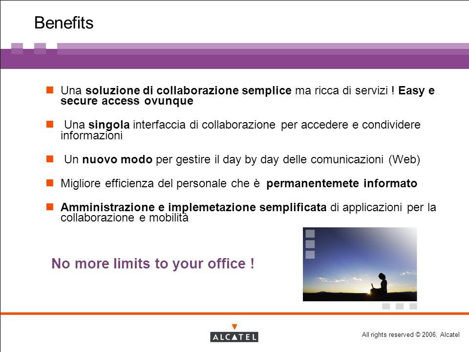 All rights reserved © 2006, Alcatel Benefits Una soluzione di collaborazione semplice ma ricca di servizi .