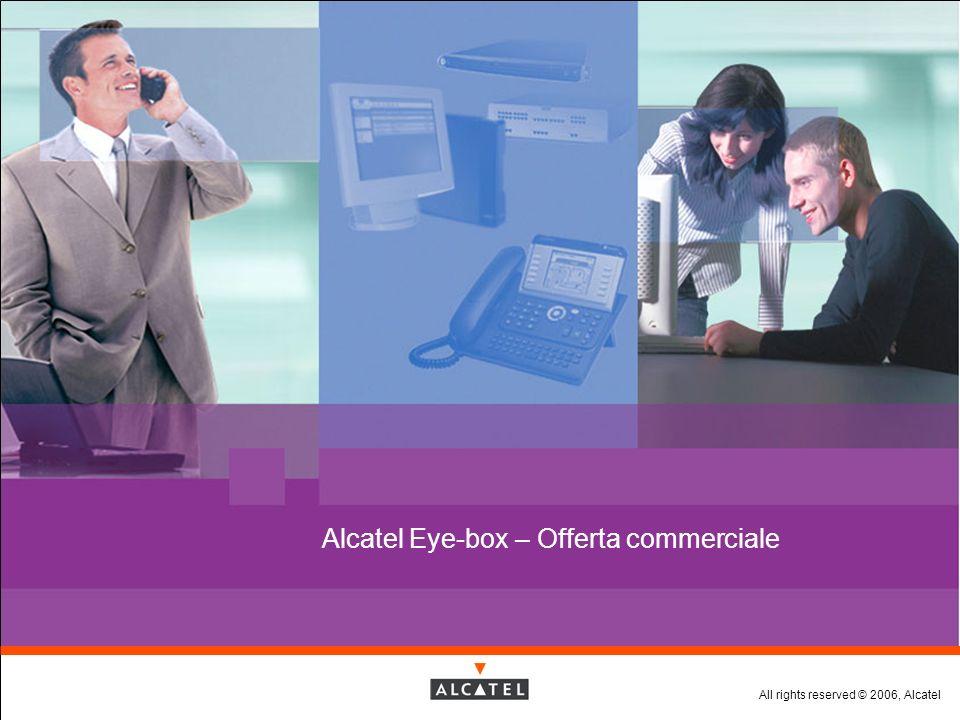 All rights reserved © 2006, Alcatel Alcatel Eye-box V4.0: Piattaforme Hardware 1 Gb memoria addizionale OPZIONI WiFi Card OPZIONI Alcatel Eye-box Compact Edition 512 Mb RAM HDD:160 Gb 3 rd scheda ethernet Alcatel Eye-box Premium Edition HDD:2*160 Gb o 2*400 Gb 3 rd scheda ethernet 3 rd HDD per backup Efficient EMPLOYEE
