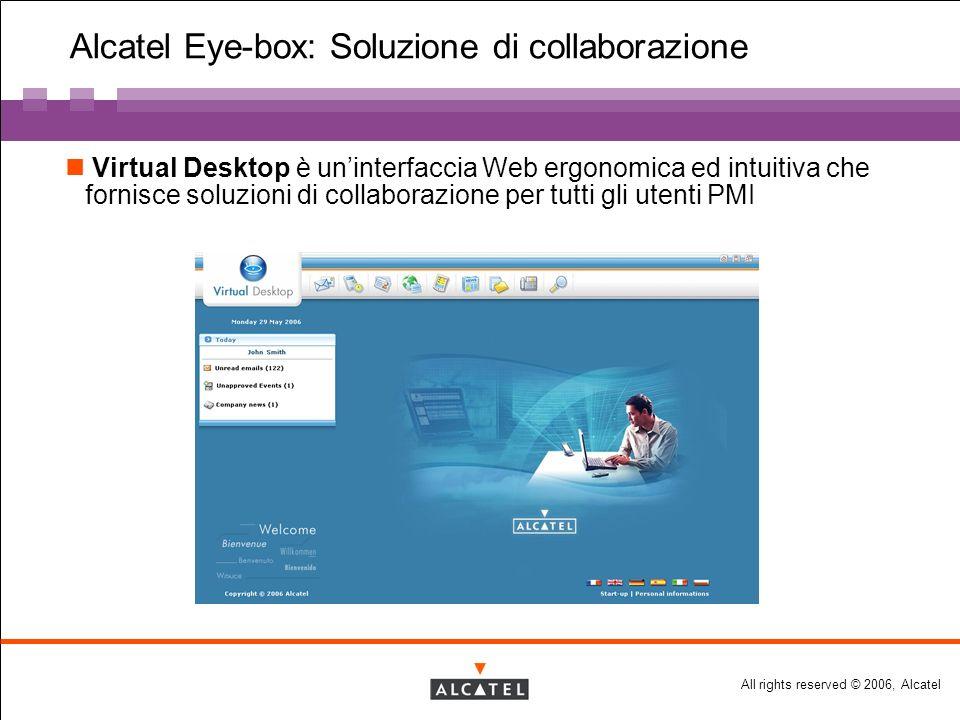 All rights reserved © 2006, Alcatel Alcatel Eye-box: Soluzione di collaborazione Virtual Desktop è uninterfaccia Web ergonomica ed intuitiva che fornisce soluzioni di collaborazione per tutti gli utenti PMI