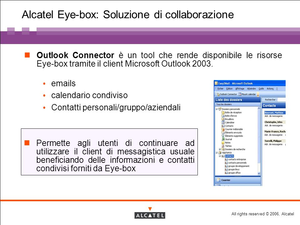 All rights reserved © 2006, Alcatel Alcatel Eye-box: Soluzione di collaborazione Outlook Connector è un tool che rende disponibile le risorse Eye-box