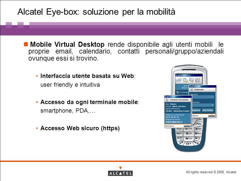 All rights reserved © 2006, Alcatel Alcatel Eye-box: soluzione per la mobilità Mobile Virtual Desktop rende disponibile agli utenti mobili le proprie email, calendario, contatti personali/gruppo/aziendali ovunque essi si trovino.