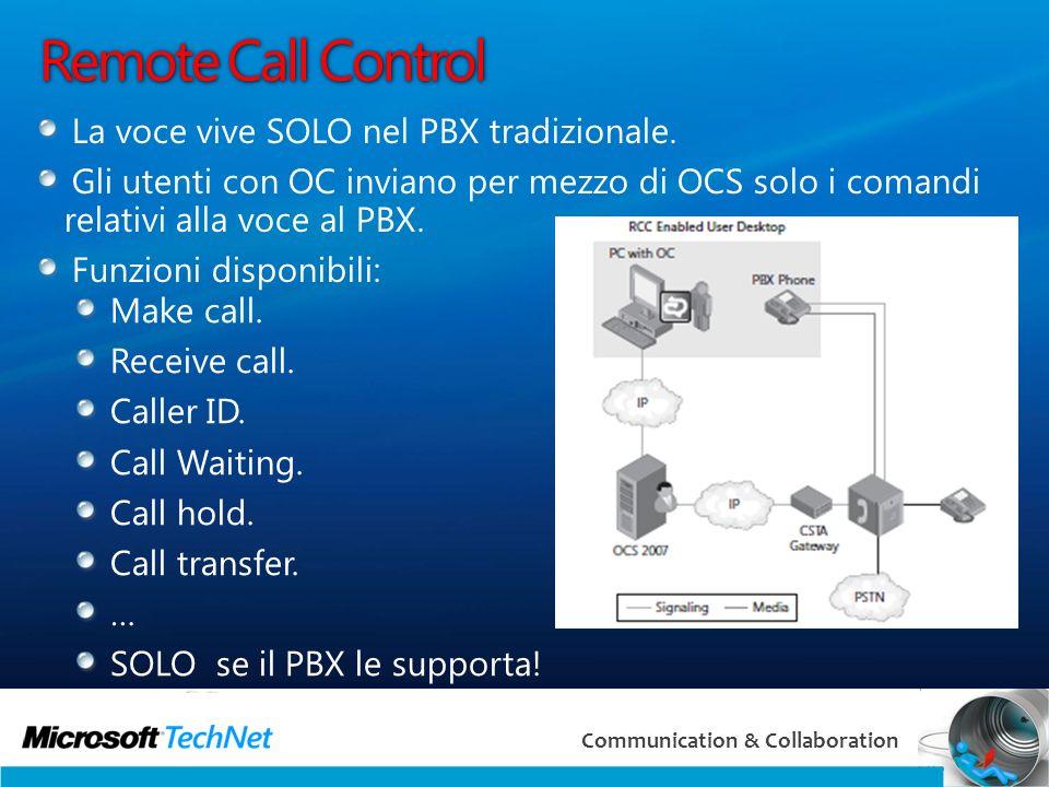 10 Communication & Collaboration Remote Call Control La voce vive SOLO nel PBX tradizionale.