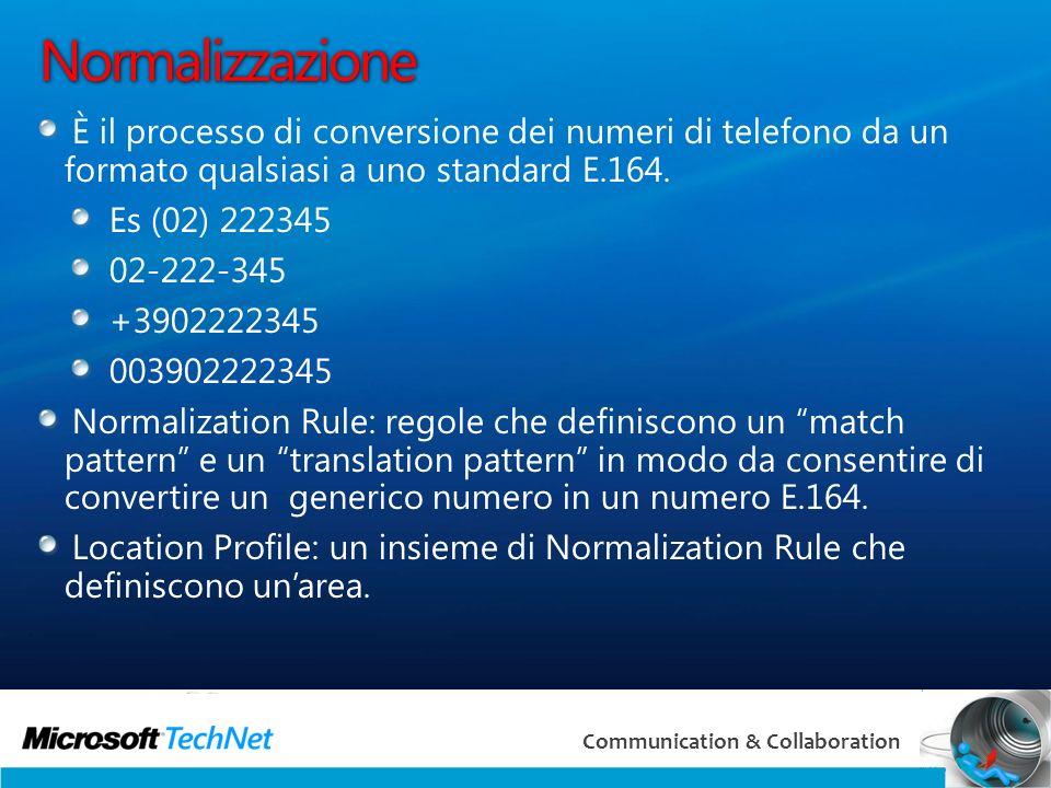 18 Communication & Collaboration Normalizzazione È il processo di conversione dei numeri di telefono da un formato qualsiasi a uno standard E.164.
