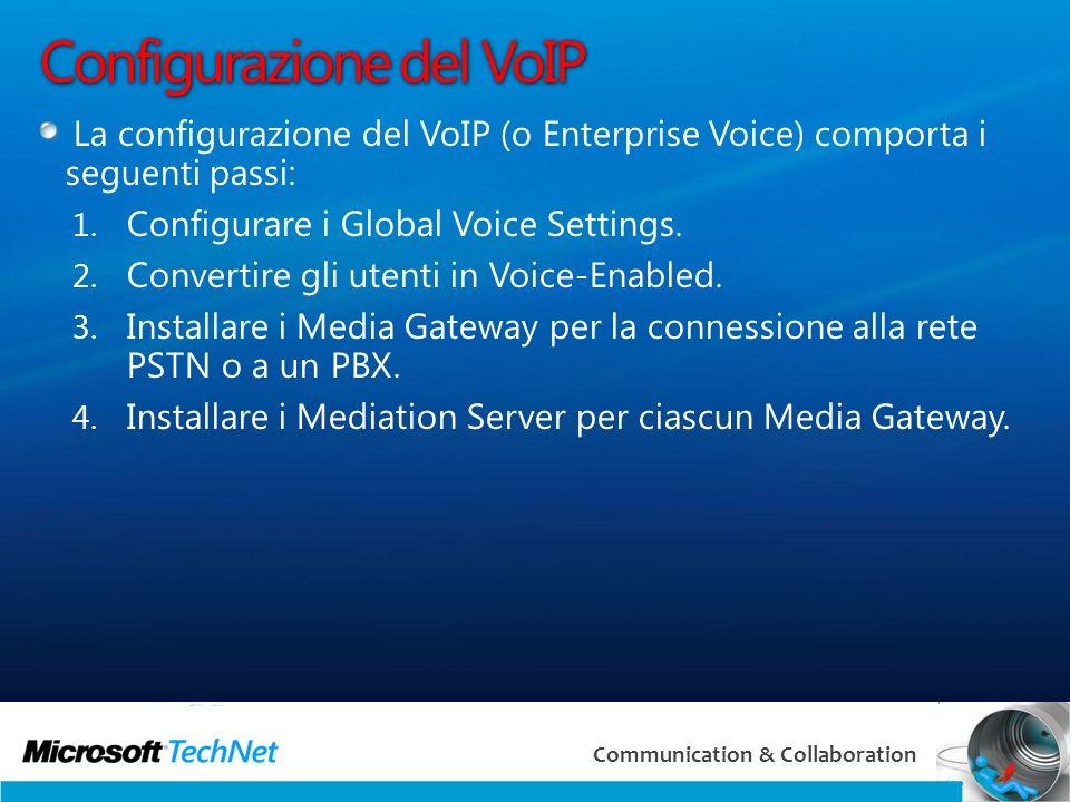 23 Communication & Collaboration Configurazione del VoIP La configurazione del VoIP (o Enterprise Voice) comporta i seguenti passi: 1.