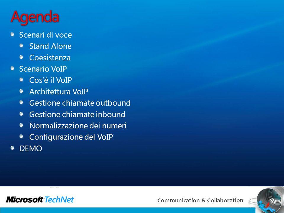 3 Communication & Collaboration Agenda Scenari di voce Stand Alone Coesistenza Scenario VoIP Cosè il VoIP Architettura VoIP Gestione chiamate outbound Gestione chiamate inbound Normalizzazione dei numeri Configurazione del VoIP DEMO