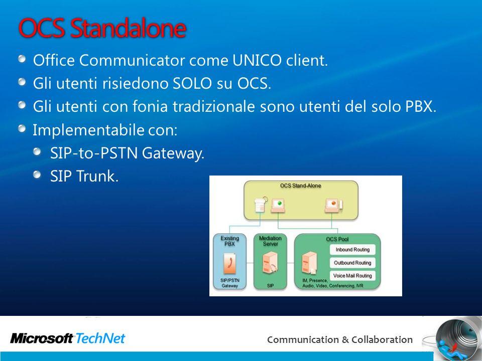 6 Communication & Collaboration SIP Trunk Una delle principali novità di OCS 2007 R2 è limplementazione del SIP Trunk che consente di interfacciarsi direttamente a un provider (qualsiasi, a vostra scelta tra Spring e Global Crossing)* senza bisogno di Mediation Gateway o IP-PSTN gateway, abbattendo i costi.