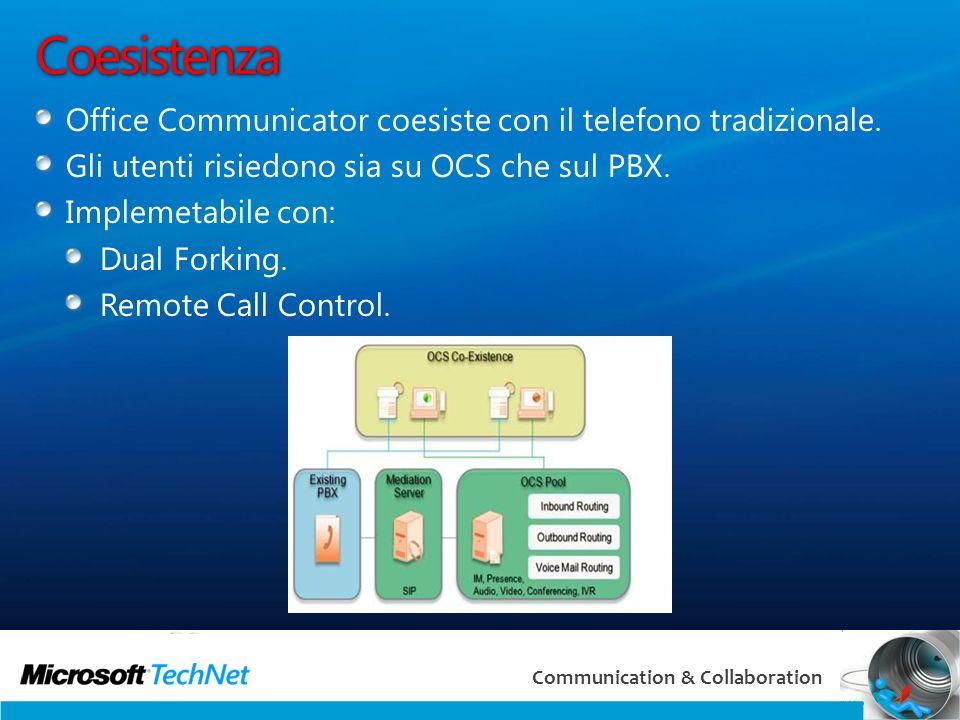 8 Communication & Collaboration Coesistenza Office Communicator coesiste con il telefono tradizionale.