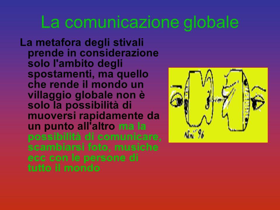 La comunicazione globale La metafora degli stivali prende in considerazione solo l'ambito degli spostamenti, ma quello che rende il mondo un villaggio