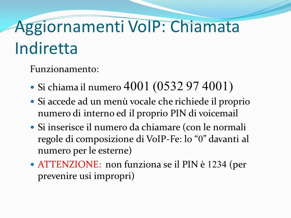 Aggiornamenti VoIP: Chiamata Indiretta Funzionamento: Si chiama il numero 4001 (0532 97 4001) Si accede ad un menù vocale che richiede il proprio nume