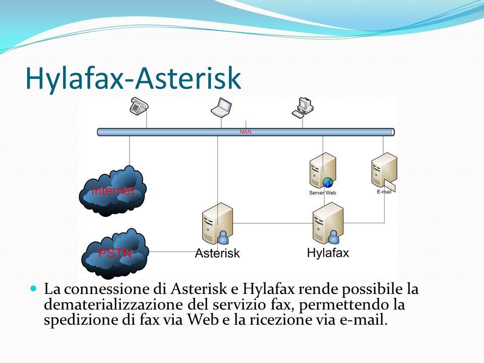 Hylafax-Asterisk La connessione di Asterisk e Hylafax rende possibile la dematerializzazione del servizio fax, permettendo la spedizione di fax via We