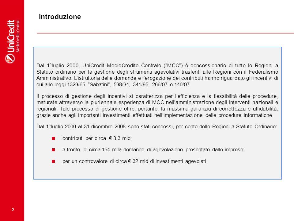 3 Introduzione Dal 1°luglio 2000, UniCredit MedioCredito Centrale (MCC) è concessionario di tutte le Regioni a Statuto ordinario per la gestione degli strumenti agevolativi trasferiti alle Regioni con il Federalismo Amministrativo.