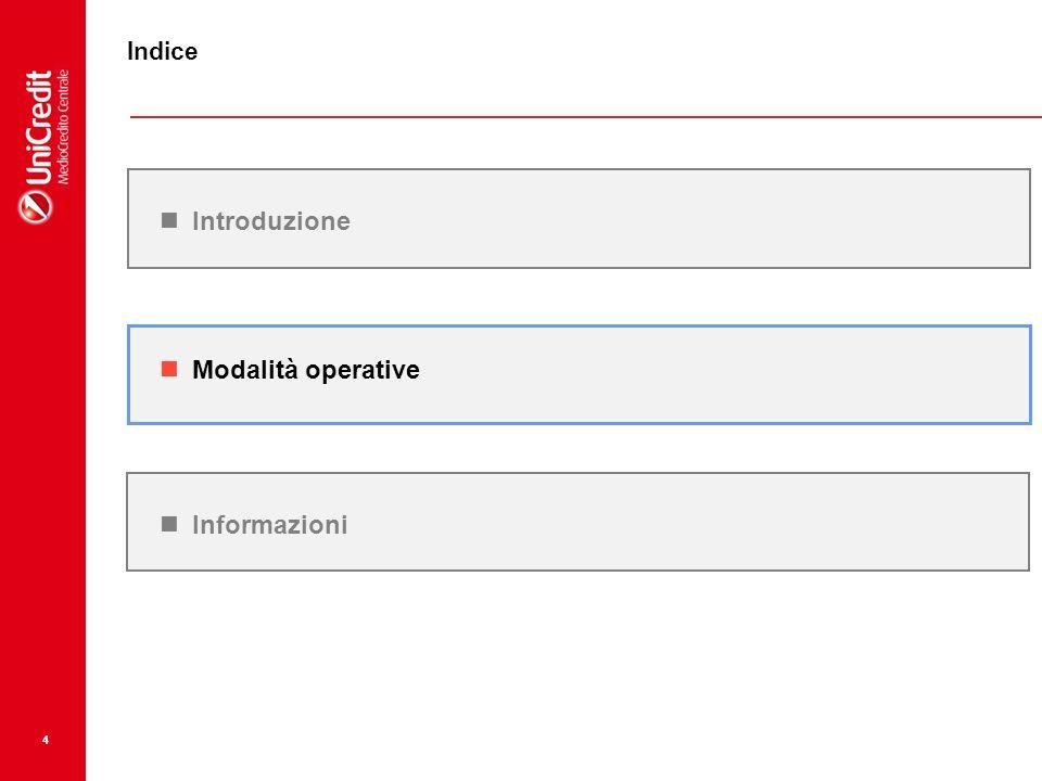 4 Modalità operative Introduzione Indice Informazioni